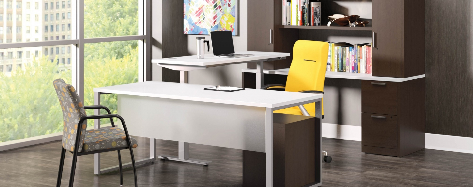 Large Office E With One Desk A Yellow Wheeling Chair Stationary Tan